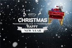 Flyg Santa Sleigh och julmeddelande på snöig bakgrundsdesign Arkivbild