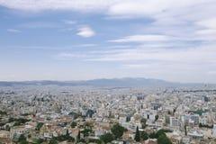 Flyg- scenisk sikt av den Athena staden, Grekland royaltyfri bild