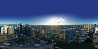 Flyg- sfärisk för Brickell Miami för 360 panorama cityscape flod Arkivfoto