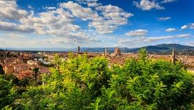 Flyg- sikt över den historiska staden av Florence Royaltyfri Fotografi