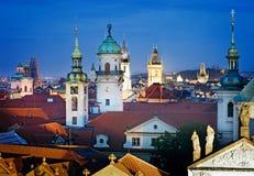 Flyg- sikt över gammal stad i Prague Royaltyfri Fotografi