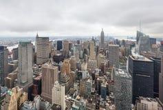 Flyg- sikt över Manhattan Fotografering för Bildbyråer