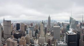 Flyg- sikt över Manhattan Arkivfoto