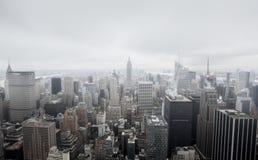 Flyg- sikt över Manhattan Arkivbild