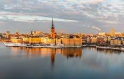 Flyg- sikt över Riddarholmen, Stockholm Arkivfoto