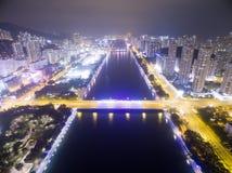 Flyg- sikt över Shatin i Hong Kong Royaltyfria Bilder