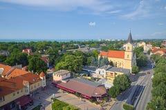 Flyg- sikt över Siofok, Ungern Royaltyfri Foto