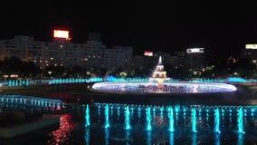 Flyg- sikt över springbrunnen på Piata Unirii arkivfilmer
