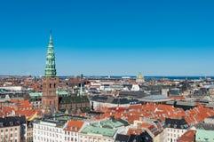 Flyg- sikt över stad av Köpenhamnen arkivfoto