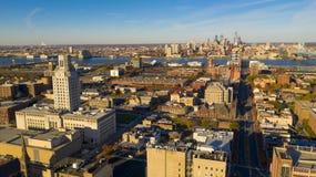 Flyg- sikt över synliga Camden New Jersey Downtown Philadelphia arkivfoto