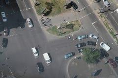 Flyg- sikt över vägen och huvudvägen Royaltyfria Foton
