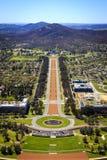 Flyg- sikt Anzac Parade till den australiska krigminnesmärken Royaltyfri Fotografi