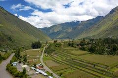 Flyg- sikt av åkerbruka terrasser för Inca på den sakrala dalen av incasna arkivbild