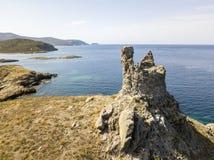 Flyg- sikt av öarna av Finocchiarola, Mezzana, en Terra, halvö av Cap Corse, Korsika Royaltyfria Bilder