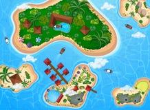Flyg- sikt av ön och havet vektor illustrationer