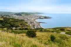 Flyg- sikt av Aberystwyth - Wales, Förenade kungariket Royaltyfri Bild