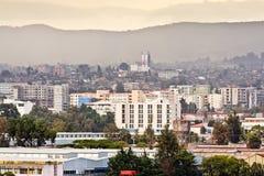 Flyg- sikt av Addis Ababa Arkivfoton