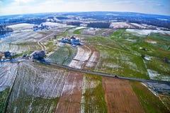 Flyg- sikt av Amish jordbruksmark i Pennsylvania royaltyfria bilder
