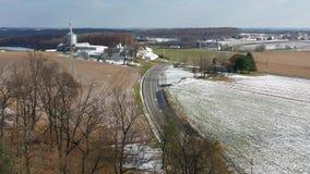 Flyg- sikt av Amish jordbruksmark i Pennsylvania arkivfilmer