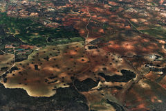 Flyg- sikt av Amsterdam Netherland Flyg- solnedgångsikt Royaltyfria Bilder