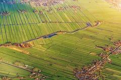 Flyg- sikt av Amsterdam Netherland Flyg- solnedgångsikt Royaltyfri Bild