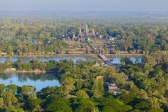 Flyg- sikt av Angkor Wat Arkivbilder