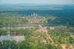 Flyg- sikt av Angkor Wat Temple Royaltyfria Foton