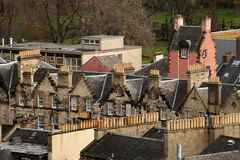 Flyg- sikt av arkitektur i Edinburg, Skottland Arkivfoton