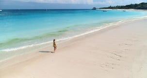 Flyg- sikt av att gå den härliga unga kvinnan på den tropiska havskusten arkivfilmer