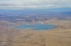 Flyg- sikt av Aurora Reservoir Arkivbilder