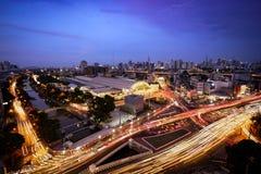 Flyg- sikt av Bangkok cityscape Royaltyfria Foton