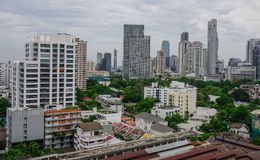Flyg- sikt av Bangkok, Thailand Royaltyfri Fotografi