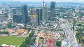 Flyg- sikt av Bangsar, Malaysia arkivfilmer
