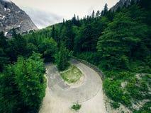 Flyg- sikt av berglandskapet, Vrsic, Slovenien Arkivbild