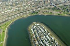 Flyg- sikt av beskickningfjärden, San Diego Royaltyfri Fotografi