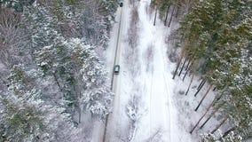 Flyg- sikt av bilinflyttningen vinterskogen lager videofilmer