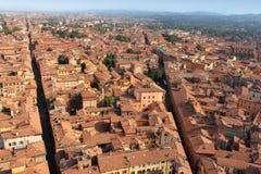 Flyg- sikt av bolognaen, Italien Arkivbild