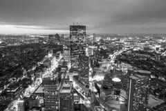 Flyg- sikt av Boston i Massachusetts Arkivbild