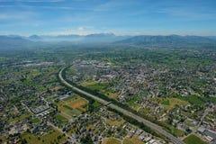 Flyg- sikt av Bregenz, Dornbirn och hårt med det Säntis berget royaltyfria bilder