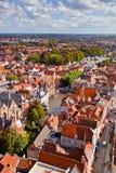 Flyg- sikt av Bruges arkivbilder