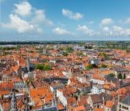Flyg- sikt av Bruges (Brugge), Belgien Fotografering för Bildbyråer