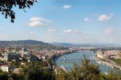 Flyg- sikt av Budapest Arkivbild