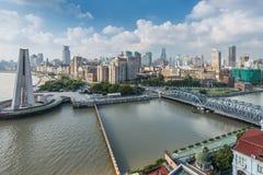Flyg- sikt av bunden på Shanghai Royaltyfria Bilder