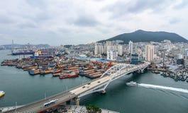 Flyg- sikt av Busan, Sydkorea fotografering för bildbyråer