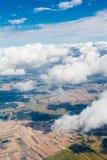 Flyg- sikt av bylandskapet nära den Pinczow staden över clo royaltyfria bilder
