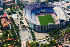 Flyg- sikt av Camp Nou stadion av FCet Barcelona Arkivfoto