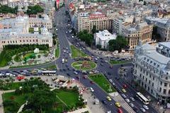 Flyg- sikt av centra av Bucharest Arkivbild