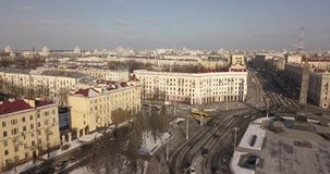 Flyg- sikt av centrala Minsk lager videofilmer
