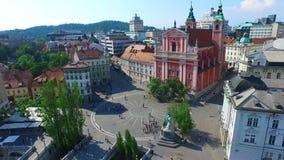 Flyg- sikt av centret i Ljubljana, Slovenien arkivfilmer
