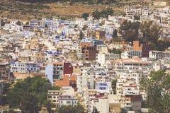 Flyg- sikt av Chefchaouen, Marocko Arkivbilder